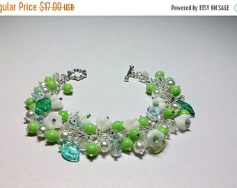 30% OFF SALE thru Mon Spring Flower Crystal Pearl Cluster Bracelet, Mothers Day Mom Sister Grandmother Bridesmaid Girlfriend Aunt Jewelry Gi