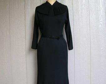 Vintage 50s SOFT BLACK WIGGLE Wiggle Dress