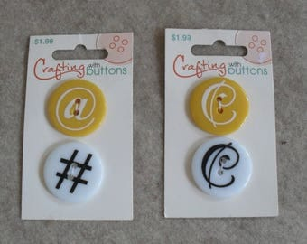 Lingo C @ # Buttons, Yellow & White Round Plastic Buttons (set of 4 buttons)