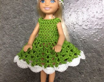 Chelsea doll clothes, Barbie sister, 5 inch doll dress, Christmas gift