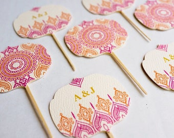 Personalized Indian Hindu Wedding Cupcake Toppers. Henna Mehndi Party Decoration. Hindu Wedding Cake Toppers. Moroccan style. Sets of 9