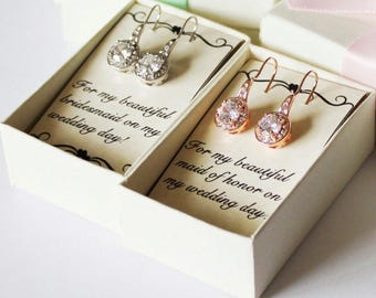 Bridesmaids earrings, Rose gold drop earrings, Cubic Zirconia, Bridal earrings, Bridal gold earrings, Bridesmaids gifts,  CZ earrings