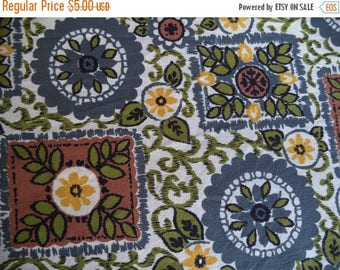 ON SALE Flower and leaves fabric/ vintage country style printed fabric/ cotton fabric brown olive blue-grey mustard