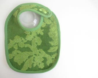 EcoBib--Adjustable Snap Closure--Vintage Two Tone Green Floral Design--Ready to Ship