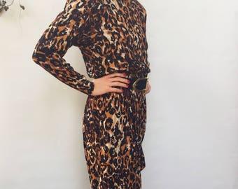 Vintage 80's leopard print jumpsuit - 1980's shoulder pad drop crotch harem pants - medium