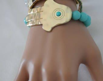 Layered Bracelet, set of 4 bracelet, gold color hammered hamsa bracelet, Gift for her, everyday use, birthday gift, Stretch bracelet