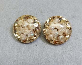 Gold Confetti and Shells Lucite Clip On Earrings