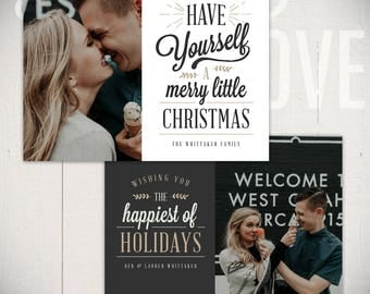Christmas Card Template: Joyful A - 5x7 Holiday Card Template for Photographers