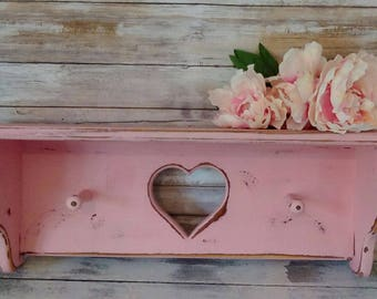Pink Wooden Shelf, Girl's Bedroom and Nursery Wall Decor, Shabby Cottage, French Market, Savannah's Cottage