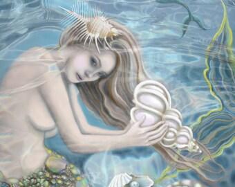 Sirena...Original Painting, Mermaid, Wall Decor, Archival Print, Sea Life, Sea Shells, Tropical