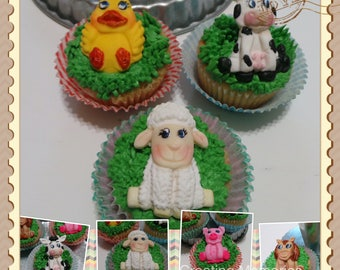 Fondant Farm Animal decorations- Cake decorations, Edible cake toppers for your home make cookies, cakes or cupcakes