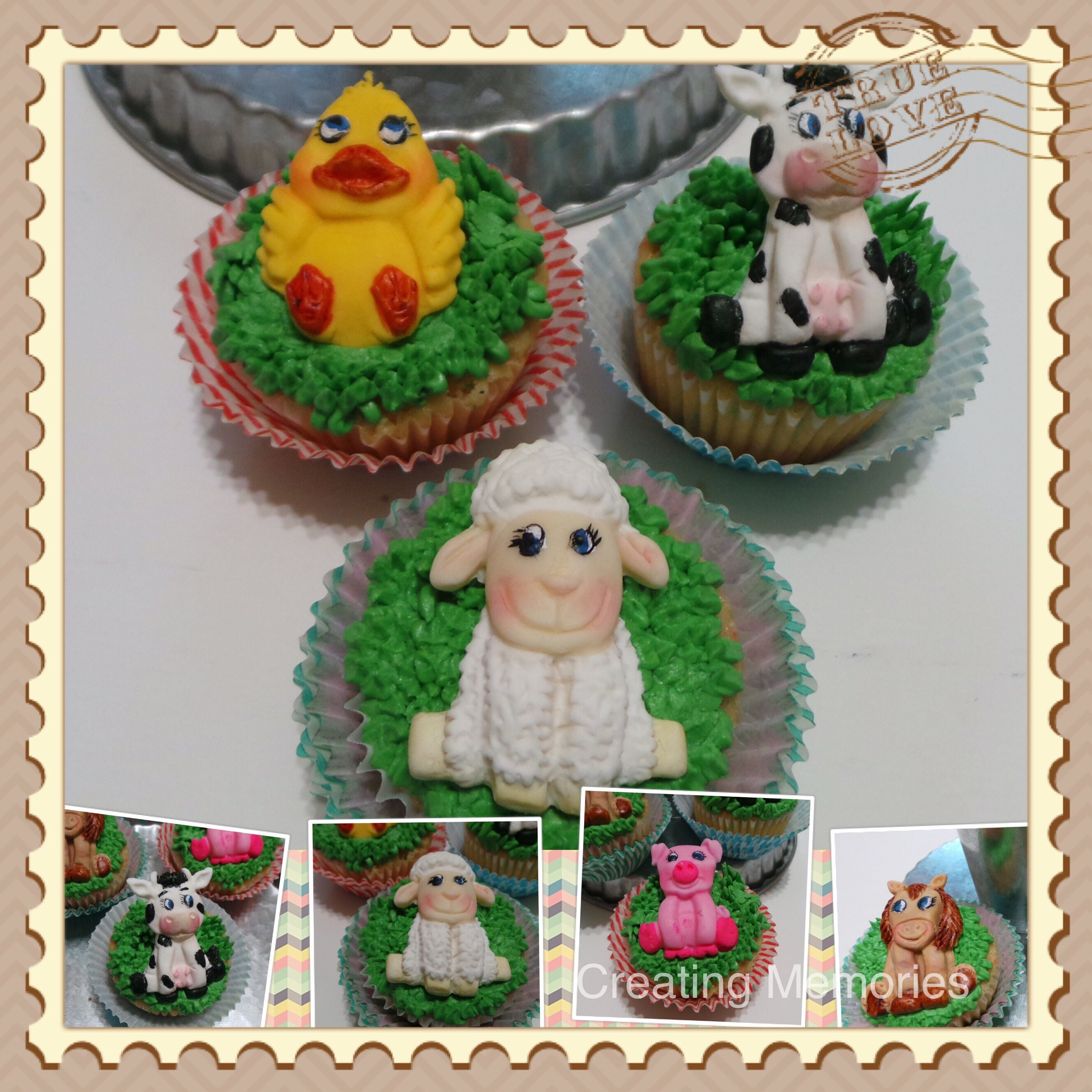 Fondant farm animal decorations cake decorations edible cake for Animal cake decoration