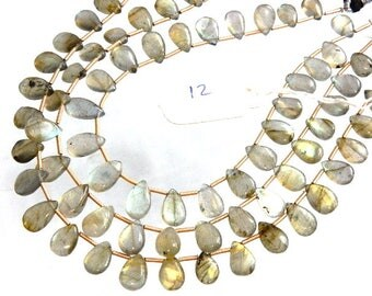 3 Strands Labradorite Beads  Multi Fire Smooth Briolette Pear Drops  AA Quality Size 7x9-7x12MM Approx 8''
