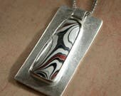 Abstract Fordite and Sterling Silver Pendant Necklace, Fordite from the Hazelwood, Missouri plant.