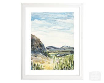 valley view watercolor print - mountains - 8x10 giclee art print