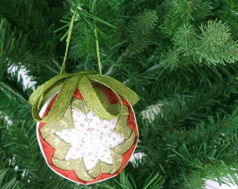 Red Green and White Quilted Christmas Ornament - Handmade Fabric Ornament - Quilted Christmas Decoration - Tree Ornament - Gift uner 15