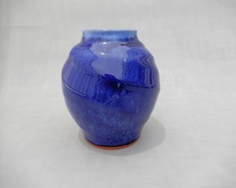 Pottery Vase - Royal Blue Spherical Ceramic Vase - Cobalt Blue Glazed Terracotta