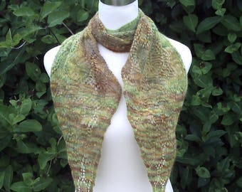Women's hand knitted luxury hand dyed lacy scarf. OOAK. Green and browns . Diagonal scarf.