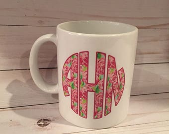 Lilly Inspired Monogram Mug { Pick Your Pattern } Great Gift Idea | DISHWASHER SAFE |