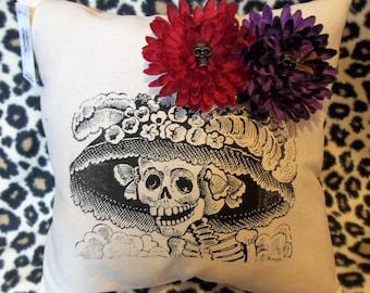 La Catrina pillow, Dia De Los Muertos, Day of the Dead