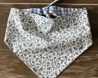 Dog-Cat-Bandana-Scarf-Puppy-Kitten-Pet-Tie On Style-Blue Flowers-Farmhouse-Blue White Gingham-Checks-Calico-Floral-Shabby Chic.