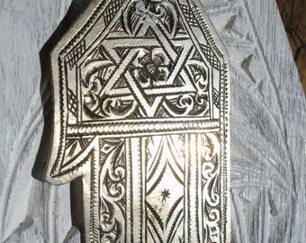 Silver  Moroccan Star of David hand engraved pendant