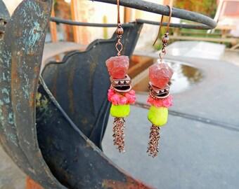 "Earrings ""A rain of roses"" Rose quartz"
