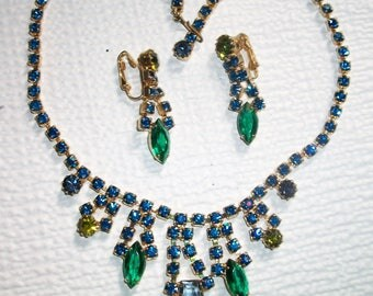 Vintage Rhinestone Parure - Necklace, Earrings, Blue Green