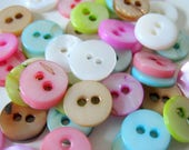 50 Shell Round Buttons, Two Hole, 10mm, Random Colors, Sewing, Shell Buttons, Buttons   G1312