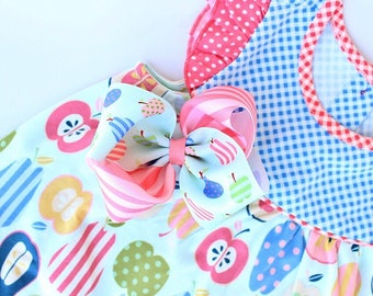 """MJ Bows - Fruit Salad Allison  - 5"""" two tone bow made to match Matilda Jane Clothing, Back To School"""