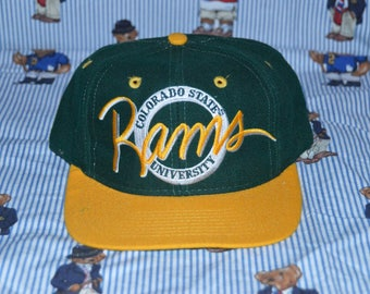 Vintage 1990's CSU Rams Hat!!! NCAA Colorado State University Circle Logo The Game Snapback!!!