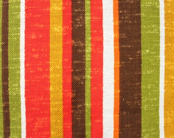 Vintage Striped Upholstery Fabric circa 1970's . Textured Woven Cotton material for furniture . avocado green marigold brown . projects