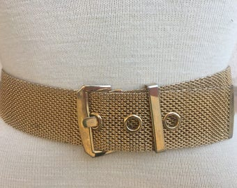 Vintage Gold Tone Mesh Belt Womens Dress Belt Size 27-29 Waist
