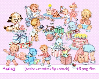Digital Clipart, instant download, vintage baby clip art, toddlers, infant, baby birthday party, baby toys, 16 printable png files 4044