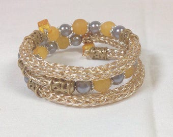 Gold and Silver Viking Knit Bangle Bracelet with Silver and Gold Beads, Wrap Bracelet Wraps Around 3 Times  Previously 32 Dollars ON SALE