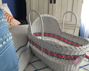 White Wicker Carry Along  Bassinet for Dolls, Books, Potted Plants