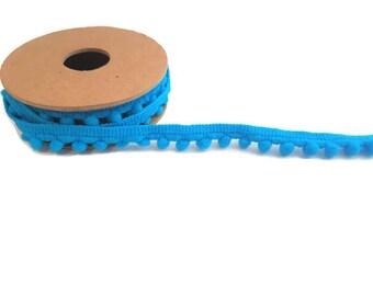 Blue pom pom trim ball ribbon by the yard elastic trim haberdashery tassel ribbon polyester craft ribbon pom pom