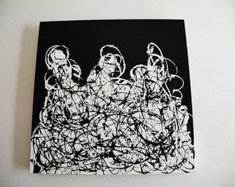 BrainWork Original 14x14 Black and White Abstract Painting by PoseManikin