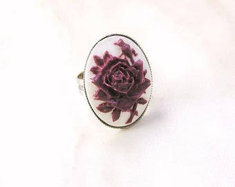 Ring with cameo, vintage cameo, purple rose, gift for her