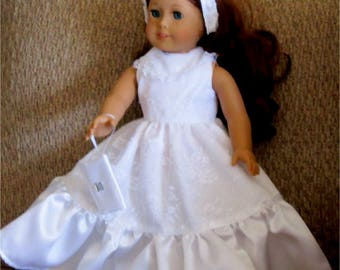 "Beautiful White Lace Wedding Dress Headband Purse Fits American Girl or Similar 18"" Doll"