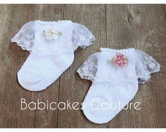 Baby Girl Socks, Lace Baby Socks, Fancy Lace Socks, Baby Socks, Couture Baby Socks, Newborn Socks, Newborn Girl Booties, Fancy Baby Socks
