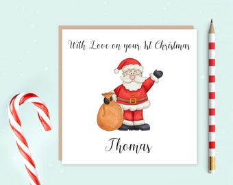 Baby's First Christmas card, baby's first Christmas, your first Christmas, personalised card