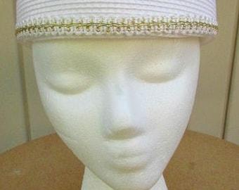 vintage 70s white pillbox hat gold braid trim sunday church wedding garden party hat
