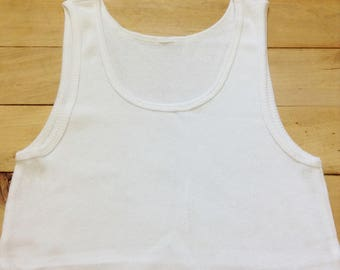 French 1970s Vintage Men White Underwear UnderShirt - High Quality Stretchable Cotton - Wife Beater Style - MADE IN FRANCE - New - M