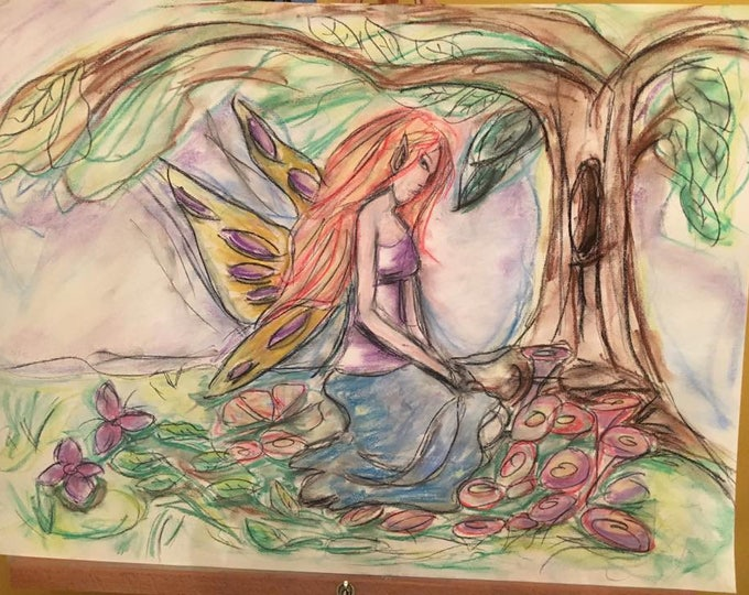 Angel Reading with Art Piece-Painting or colored charcoal drawing of a scene from the reading