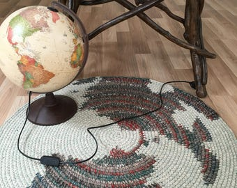 Map Rug, NEW design, hand crochet wool rug, 34 inches in diameter, other sizes and colors available to order