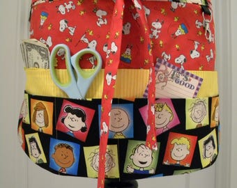 Teacher Aprons-Crafter Vendor Utility Apron-Happiness Is Peanuts Characters