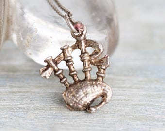 Tiny Bagpipes Necklace - Sterling Silver Scottish Pendant and Chain - Souvenir from Scotland