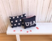 "Miniature Pillows - One With Stars and Stripes and One That Says ""USA"" - Perfect for Your Summer or 4th of July Decor"