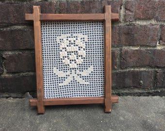 Framed Crochet / Wall Decor / Hand Made